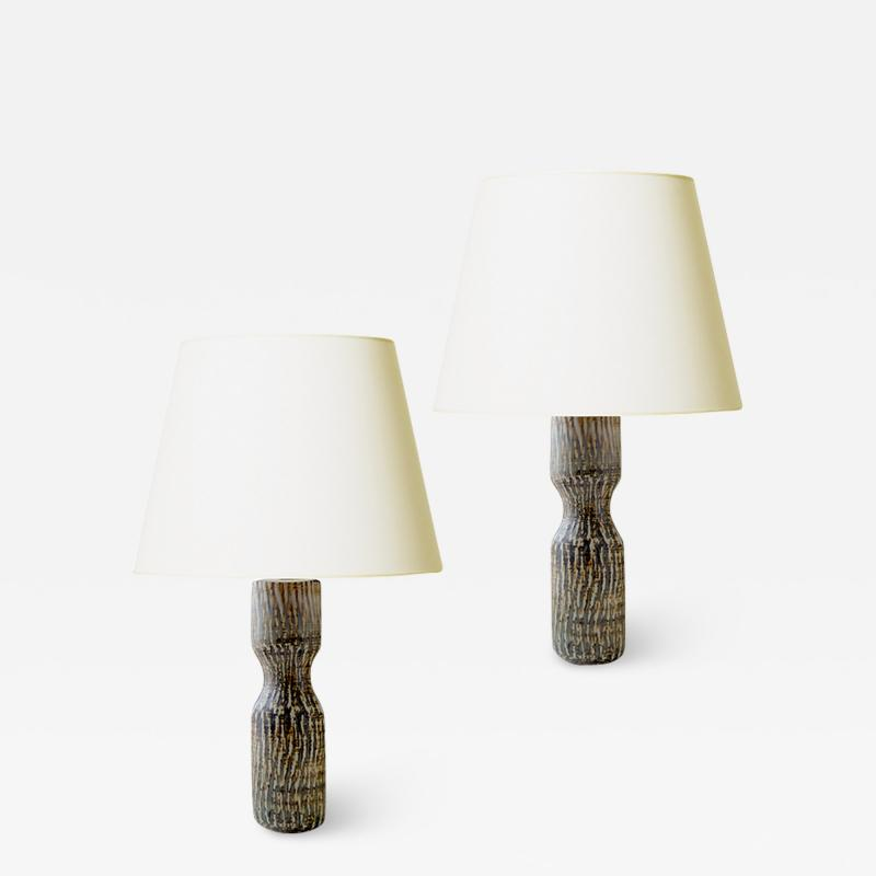 Gunnar Nylund Pair of Rubus Series Table Lamps with Hourglass Form by Gunnar Nylund