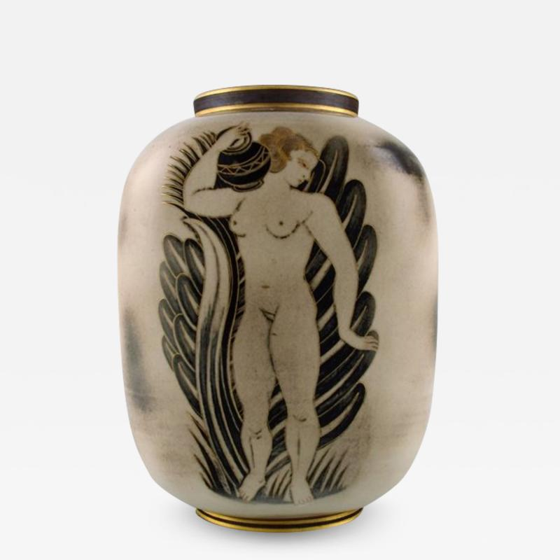 Gunnar Nylund Unique hand crafted Art Deco Flamb vase in ceramic with nude woman carrying jar