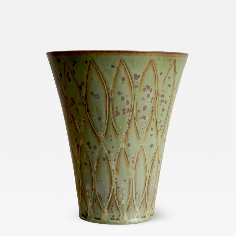 Gunnar Nylund Vase with Stylized Leaf Pattern in Speckled Green by G Nylund
