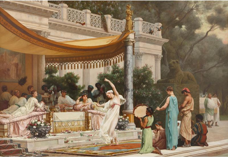 Gustave R Boulanger A Summer Repast at the House of Lucullus large oil painting by Boulanger