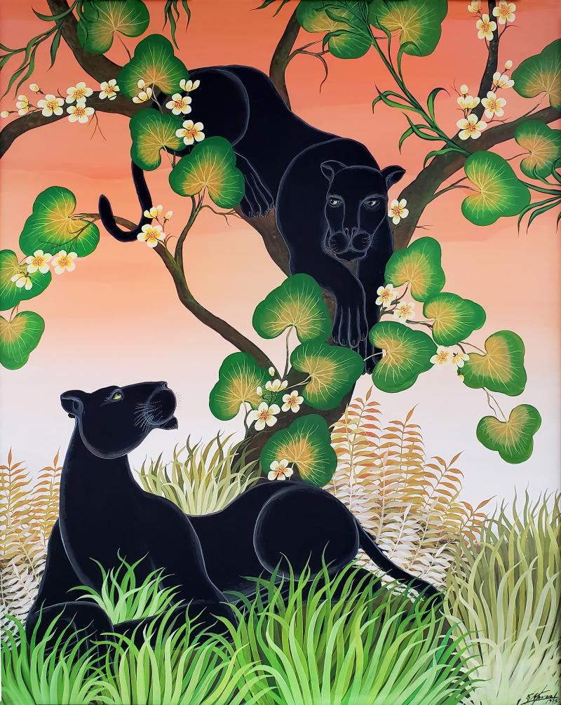 Gustavo Novoa Black Panther in a tree with a peach sky