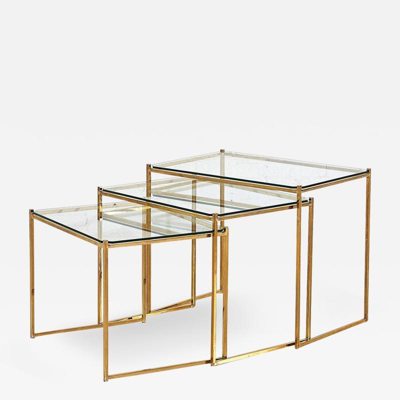 Guy LeFevre Brass and Glass Nesting Tables by Guy Lefevre for Maison Jansen circa 1970