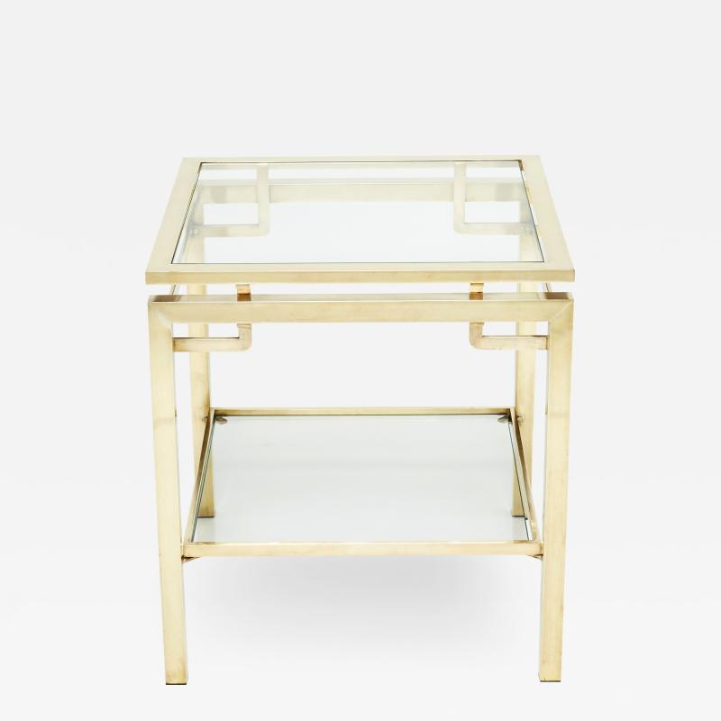 Guy LeFevre French Brass two tier end table Guy Lefevre for Maison Jansen 1970s
