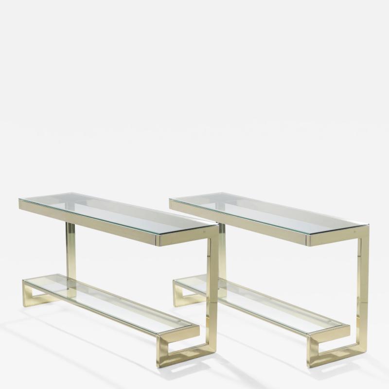 Guy LeFevre Guy Lefevre pair of large brass console tables for Maison Jansen 1970 s