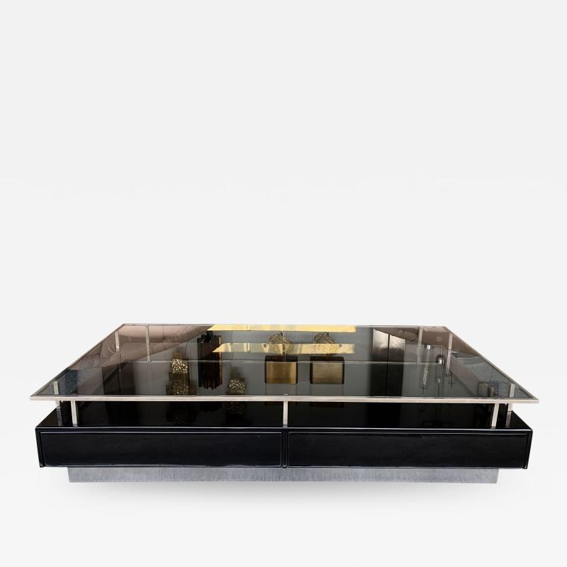 Guy LeFevre Lacquered Coffee Table Nickeled Brass by Guy Lefevre France 1970s