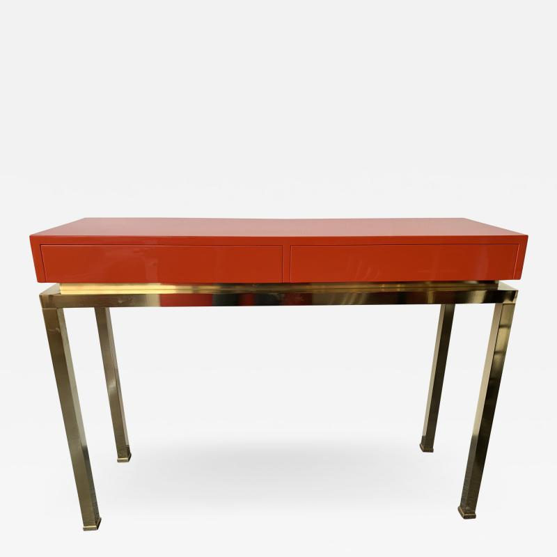 Guy LeFevre Lacquered and Brass Console by Guy Lefevre France 1970s