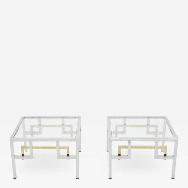 Guy LeFevre Mid century Brass chrome side tables by Guy Lefevre for Maison Jansen 1970s