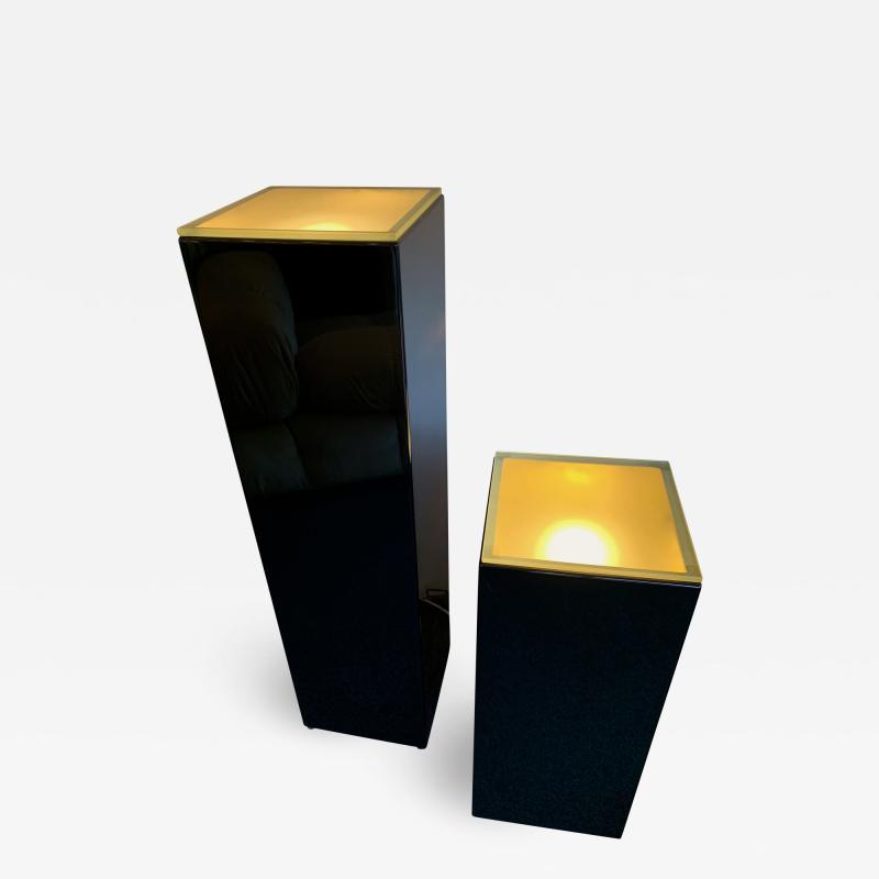 Guy LeFevre Pair of Lacquered Column Lamp by Guy Lefevre France 1970s