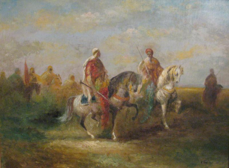 H Van Faber 19th Century Orientalist Painting with Horses