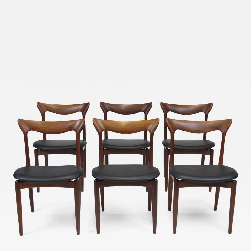 H W Klein H W Klein Sculpted Back Dining Chairs of Walnut Set of Six