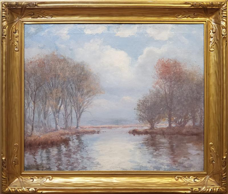 Hal Robinson River Landscape On A Cloudy Day an Oil Painting
