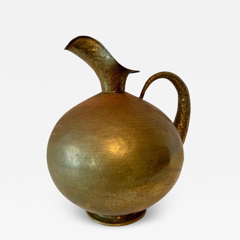 Hammered Italian Brass Urn Pitcher Signed Egidio Casagrande