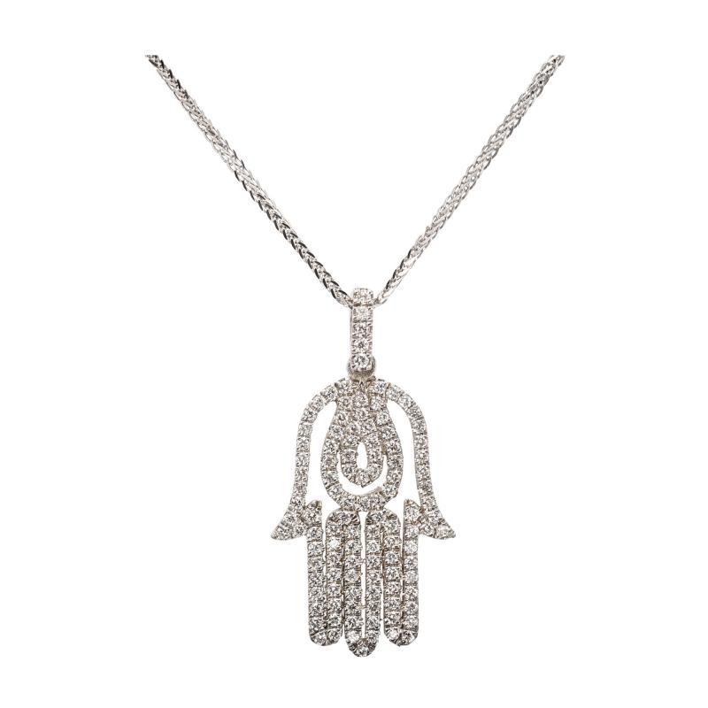 Hamsa Diamond White Gold Pendant Necklace