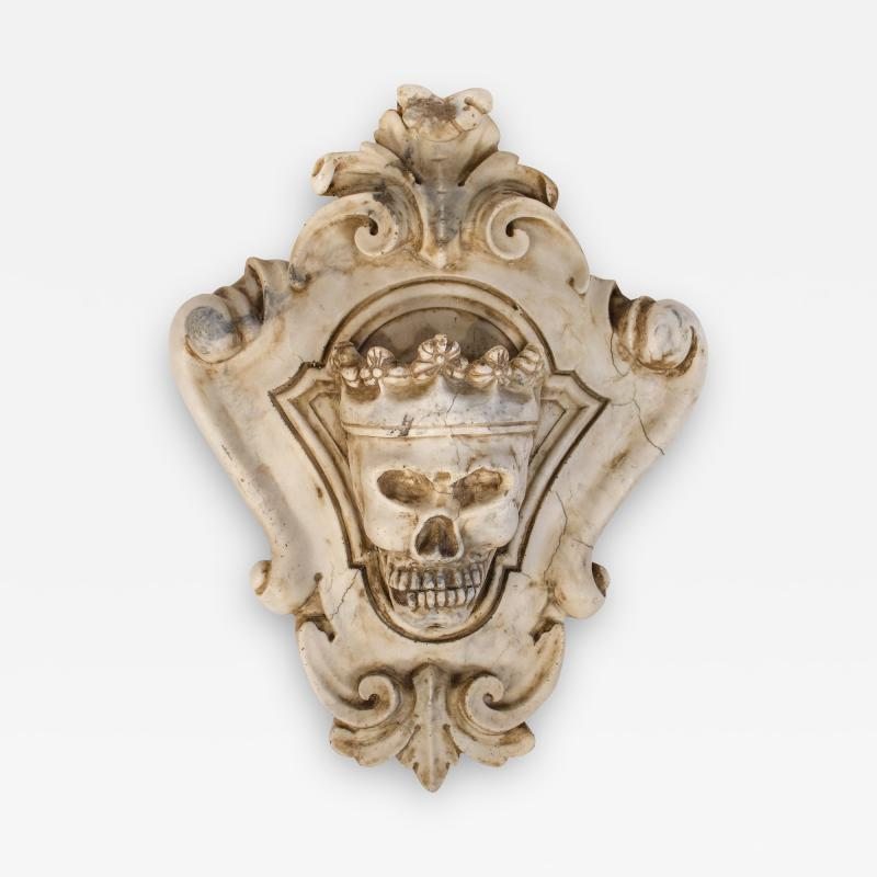 Hand Carved Solid Calacatta Marble Gothic Revival Skull Architectural Element