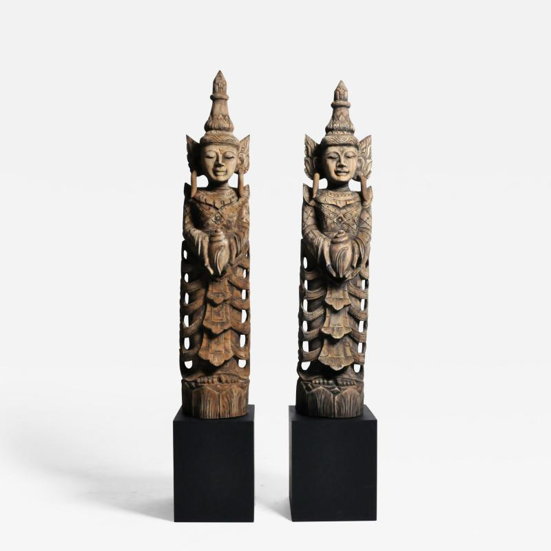 Hand Carved Teak Wood Blessing Angels