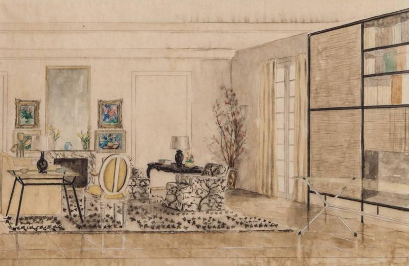 Hand Colored Interior Drawing