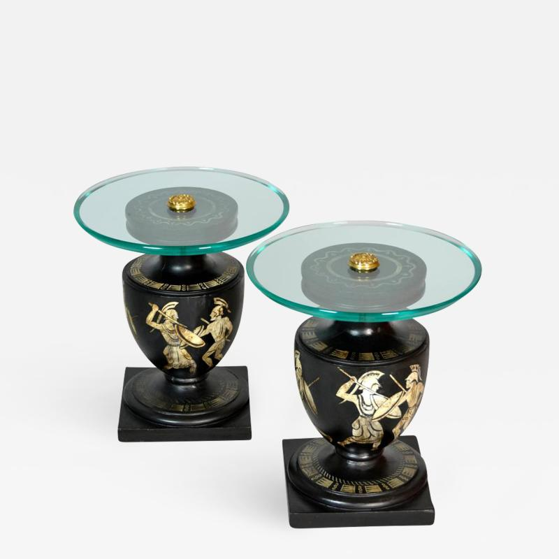 Hand Painted Italian Mid Century Black and White Urn End Tables circa 1940