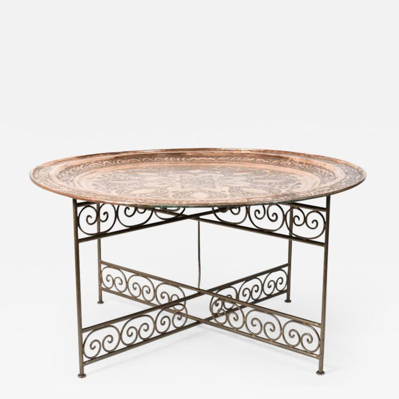 Handcrafted Moroccan Moorish Round Copper Tray Table on Iron Base