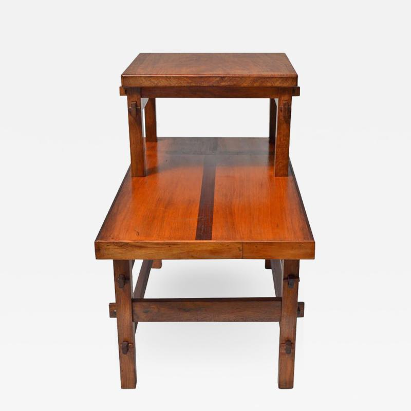 Handcrafted Studio End Table with Mixed Wood Inlay and Pegs circa 1955
