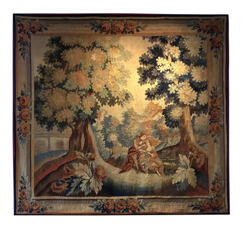 Handmade Antique Flemish Tapestry Wall Hanging 1880