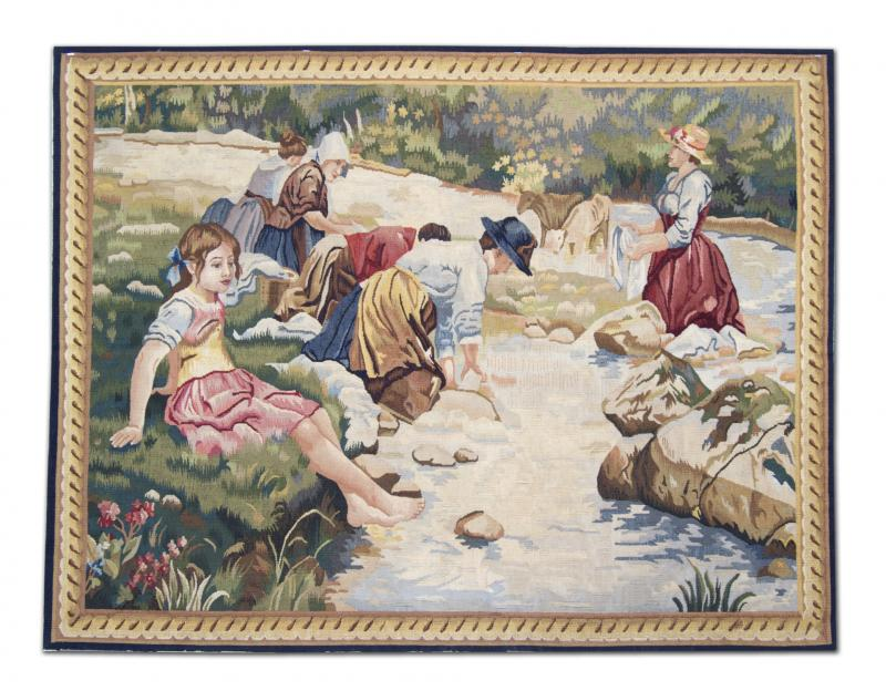 Handwoven Vintage Tapestry Wall Hanging Needlepoint Rug