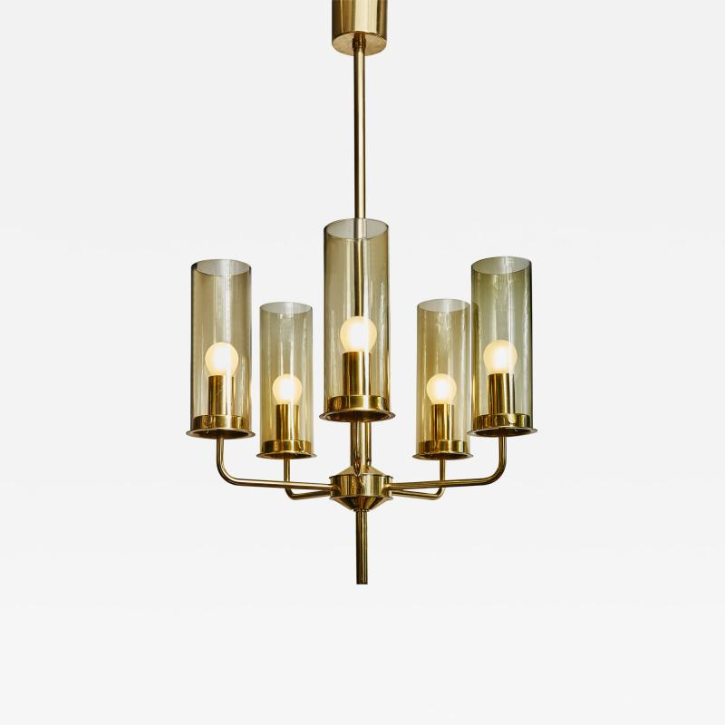 Hans Agne Jakobsson Brass and Glass Chandelier T434 5 by Hans Agne Jakobsson