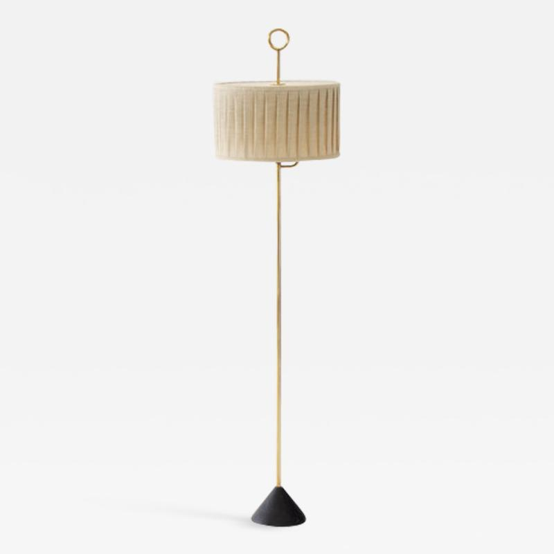 Hans Agne Jakobsson Floor Lamp by Hans Agne Jakobsson in Brass and Fabric Sweden 1950s