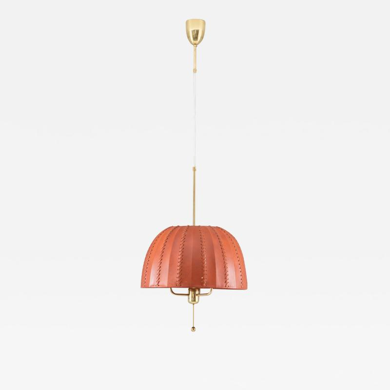 Hans Agne Jakobsson Midcentury Swedish Pendant in Brass and Leather by Hans Agne Jakobsson