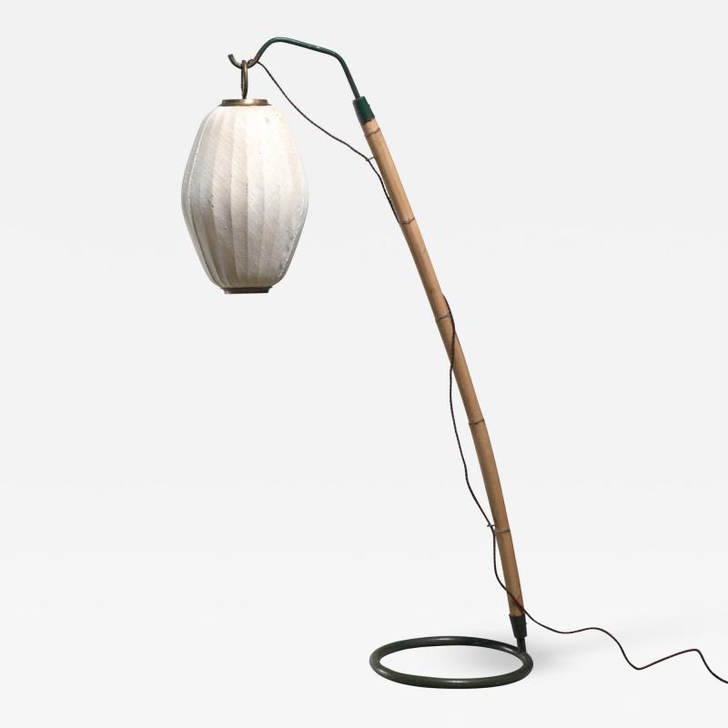 Hans Bergstr m Hans Bergstrom curved bamboo floor lamp