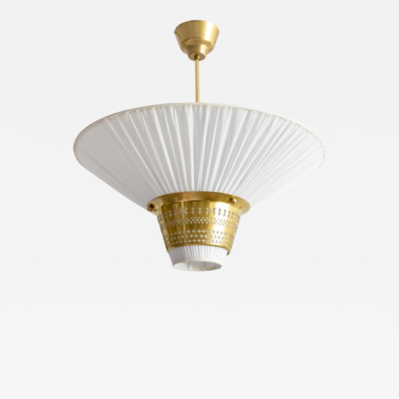 Hans Bergstr m Hans Bergstrom for Atelj Lyktan funnel form pierced brass and pleated pendant
