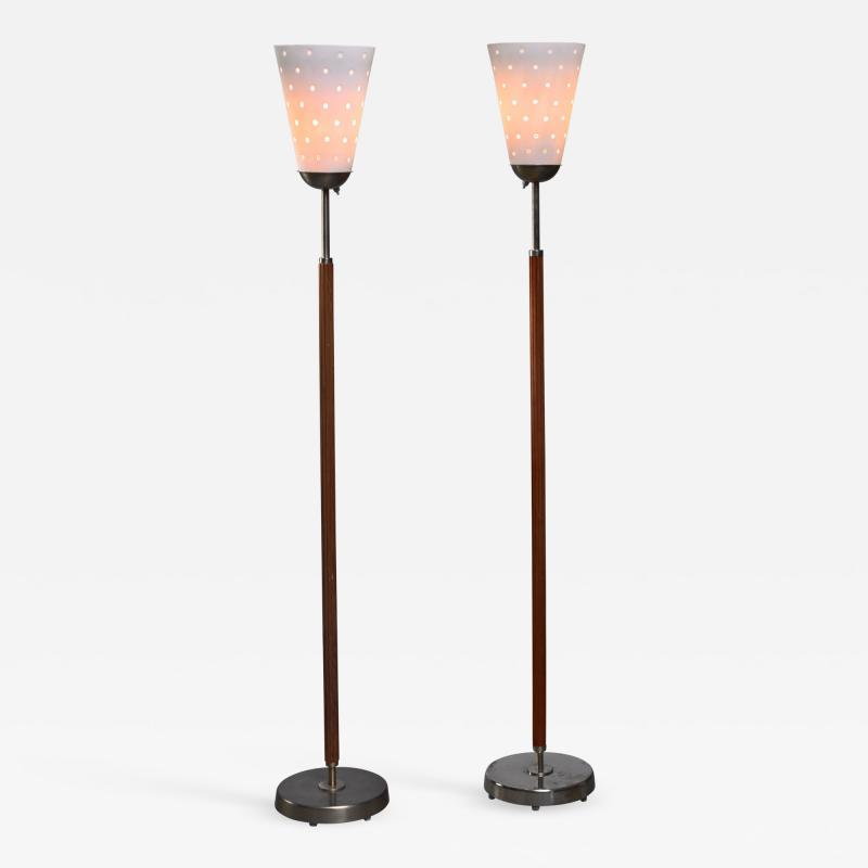 Hans Bergstr m Hans Bergstrom pair of brass and glass floor lamps Sweden