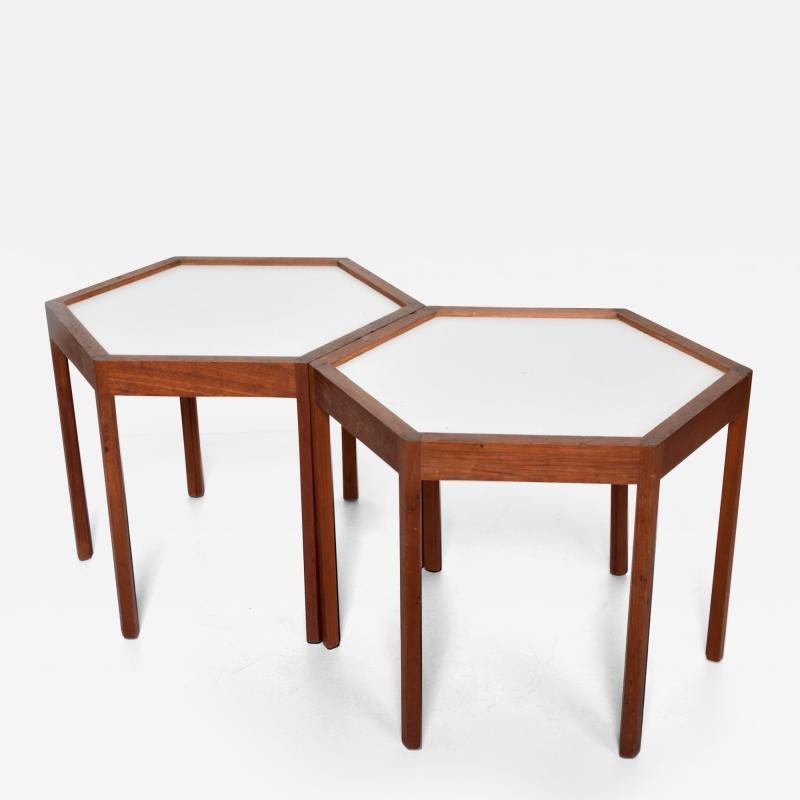 Hans C Andersen White Hexagonal Solid Teak Side Tables by Hans C Andersen 1960s DENMARK