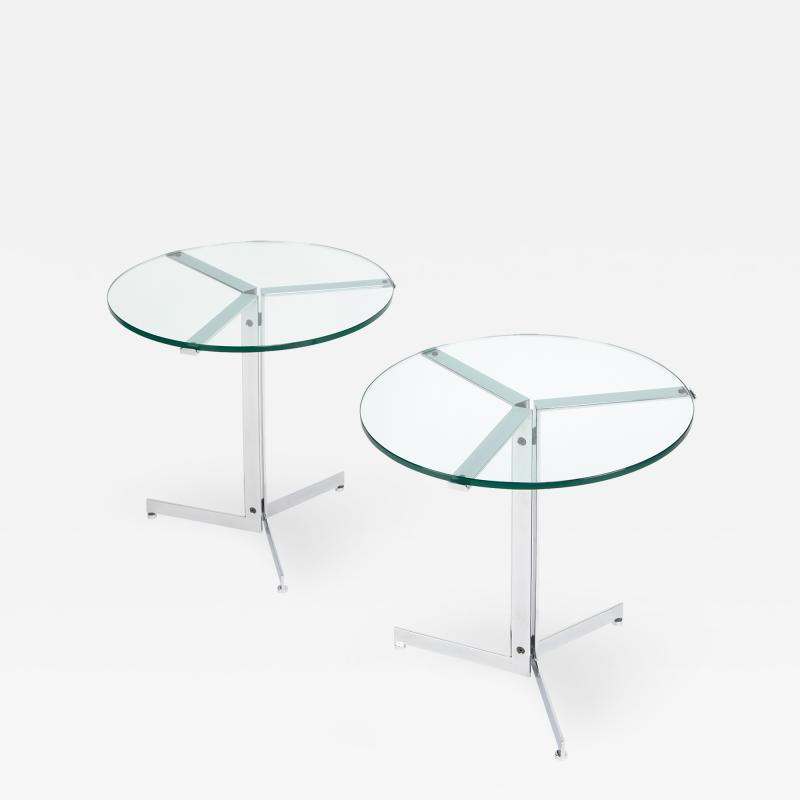 Hans Eichenberger Pair Of Alpha Side Tables In Polished Chrome And Glass 1970s