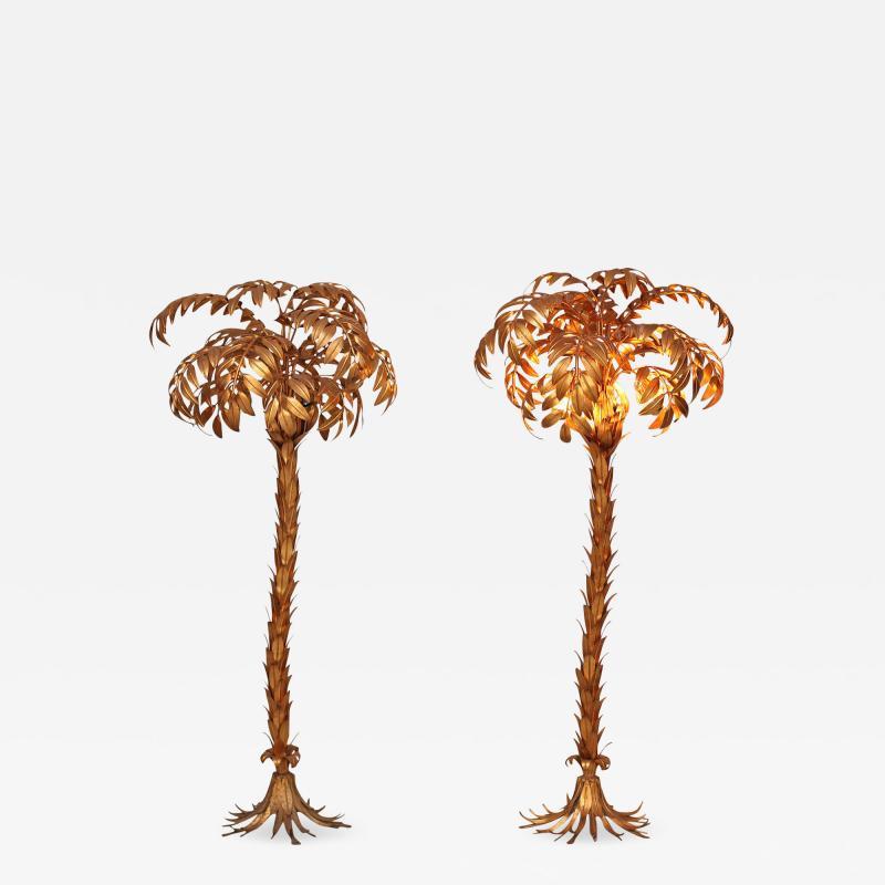Hans K gl Pair of Huge Gilt Metal Palm Tree Floor Lamps by Hans Ko gl