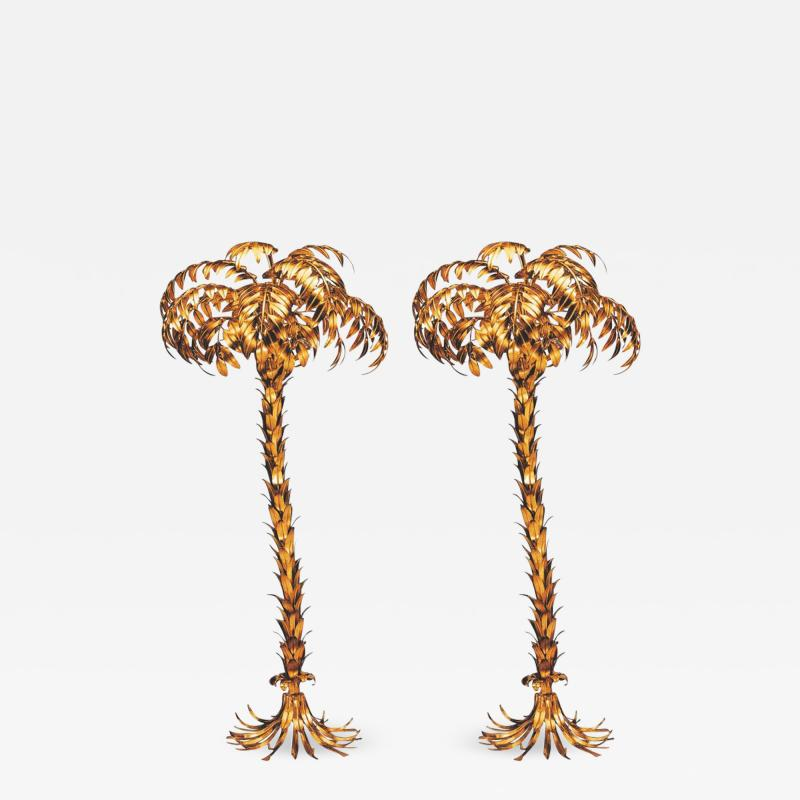 Hans K gl Pair of Huge Matched Hans K gl Palm Tree Floor Lamps