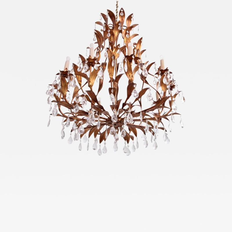 Hans K gl Very Huge Gilt Metal and Crystal Glass Chandelier in the Manner of Hans K gl