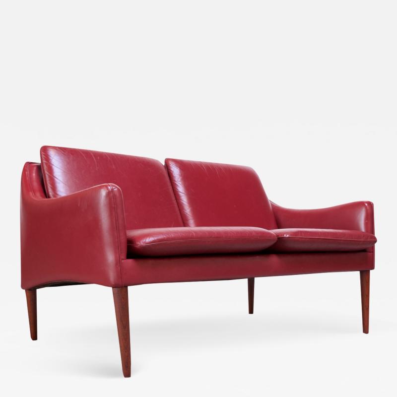 Hans Olsen Danish Modern Cranberry Leather Settee by Hans Olsen