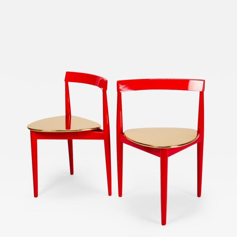 Hans Olsen Pair of Golden Hans Olsen Chairs