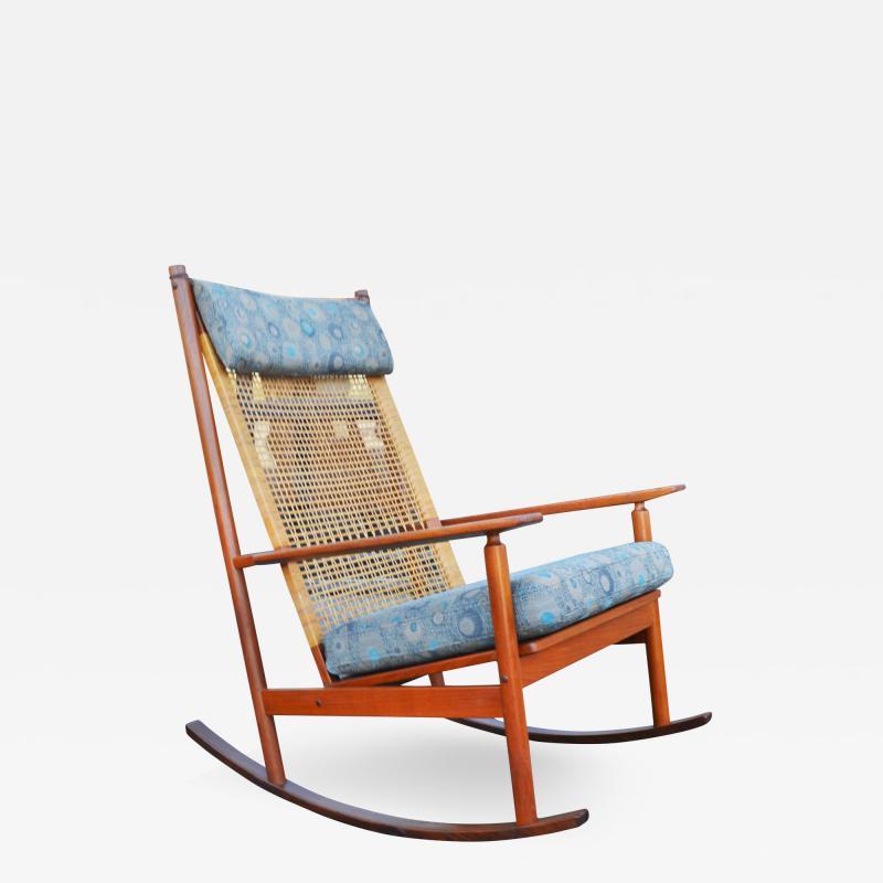 Hans Olsen Restored Teak Rocking Chair w Cane Back by Hans Olsen for Juul Kristiansen