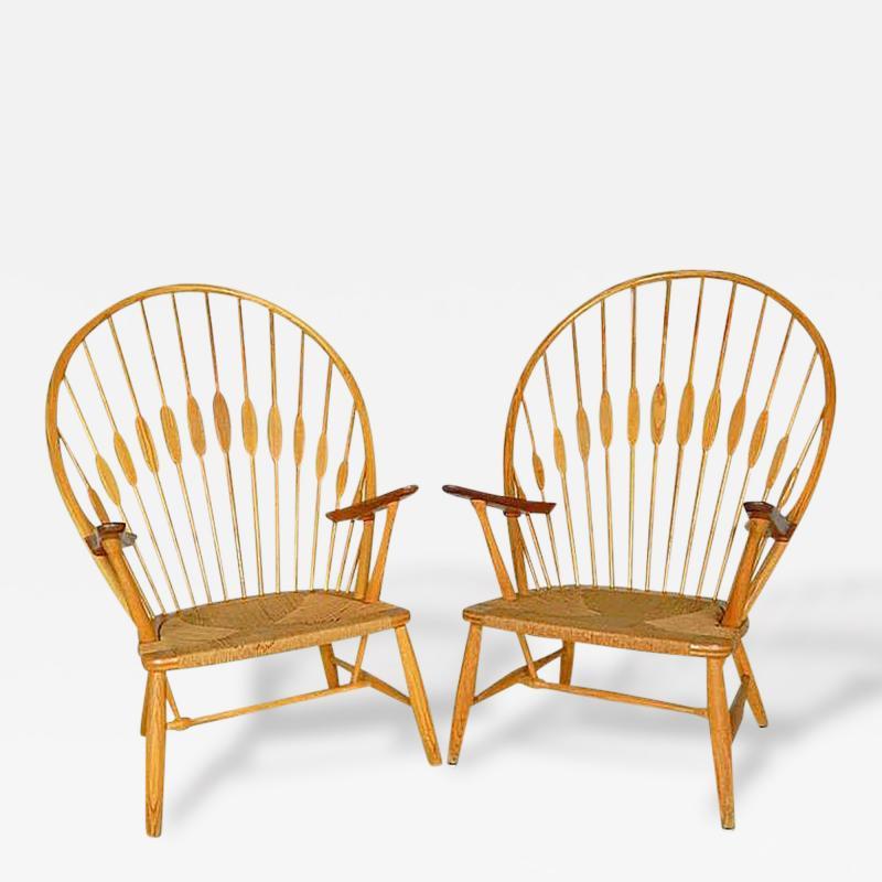 Hans Wegner 2 Vintage Peacock Chairs by Hans Wegner c 1960