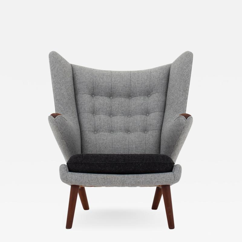 Hans Wegner AP 19 Papa Bear chair in grey wool