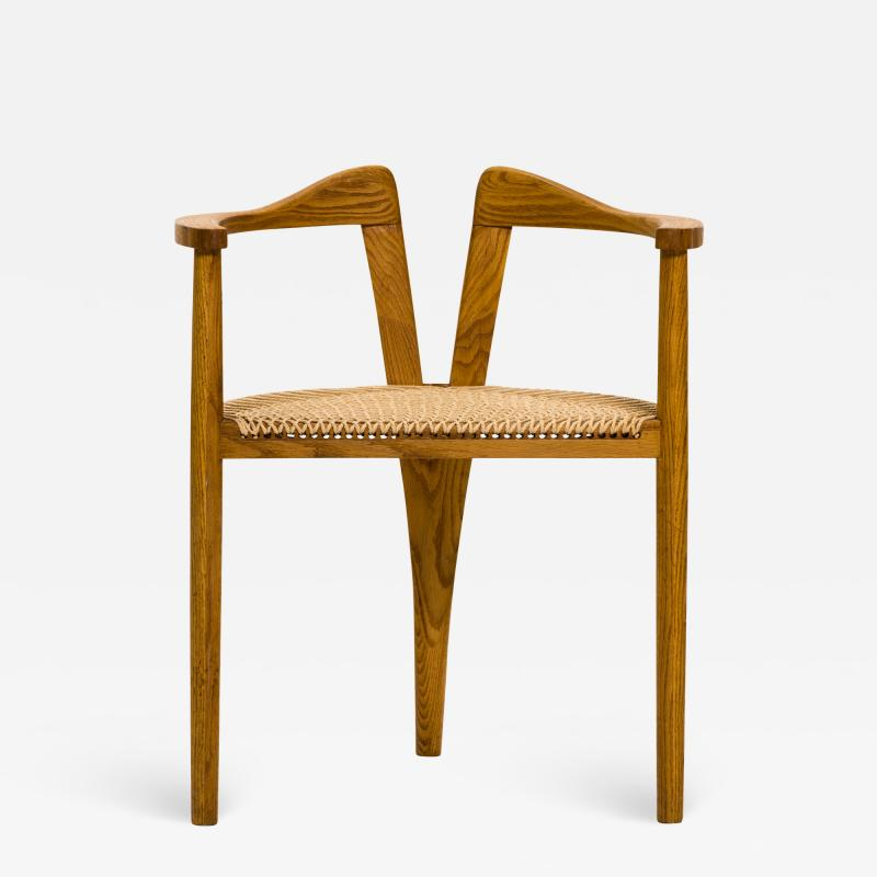Hans Wegner American Studio Craft Tri Leg Chair in Oak with Woven Seat after Hans Wegner