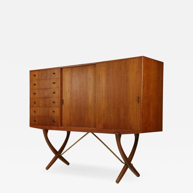 Hans Wegner Exceptional Scandinavian Modern Saber Legged Teak Oak Cabinet by Hans Wegner