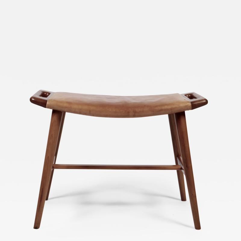 Hans Wegner Hans J Wegner AP 30 Piano Bench in Mahogany Original Natural Leather 1950s
