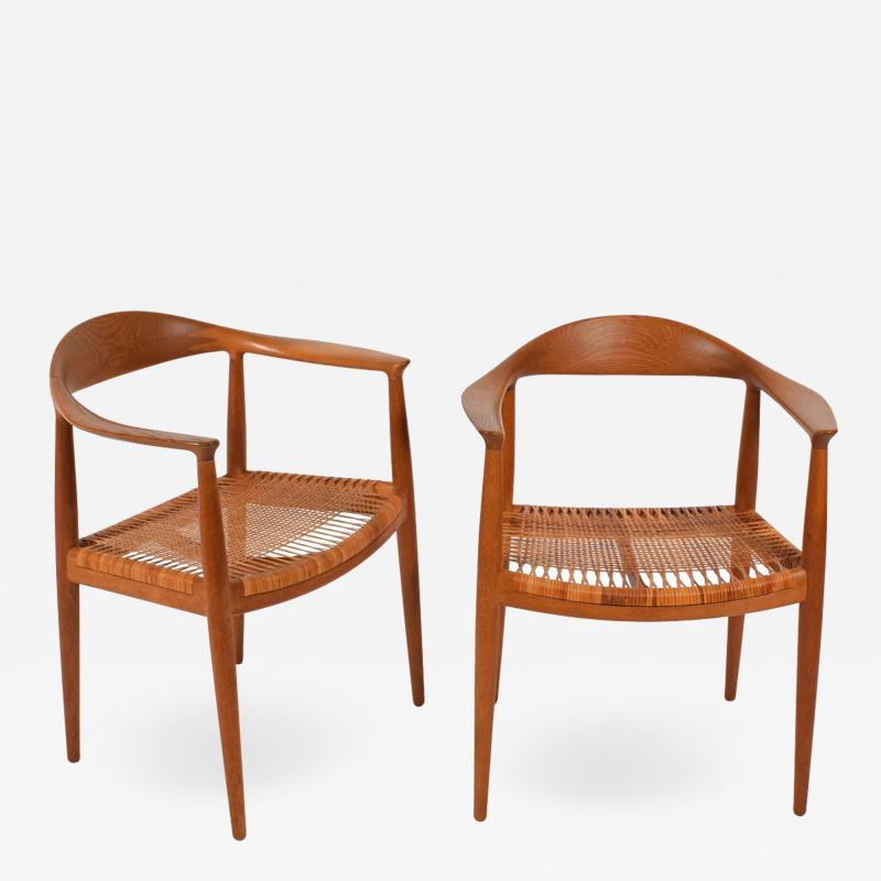 Hans Wegner Hans J Wegner Pair Oak Classics Chairs for Johannes Hansen