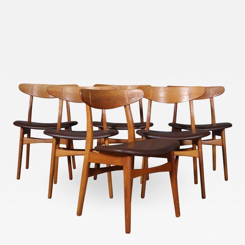 Hans Wegner Hans J Wegner Six chairs model CH 30 of oak 6