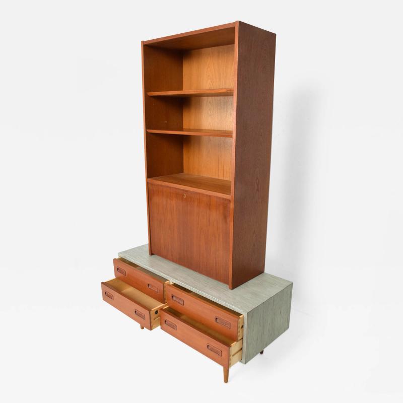 Hans Wegner Modern Twist Danish Teak Cabinet Hutch Combo in Ceruse Gray 1970s Denmark