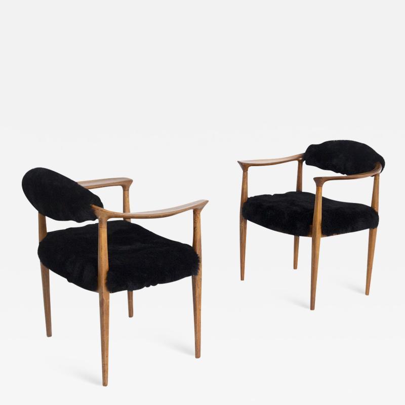 Hans Wegner Pair of black armchairs by Hans Wegner Mod JH 501 in teak 1950s