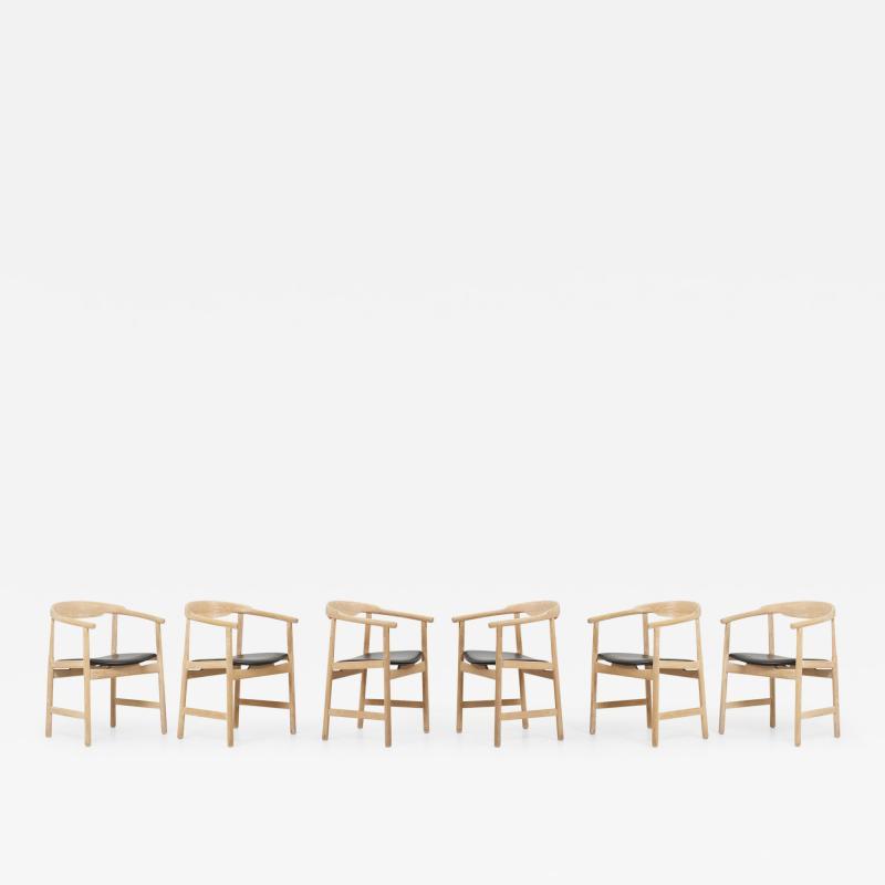 Hans Wegner Set of 6 Hans Wegner PP203 Chairs in Oak and Leather for PP M bler 1950s