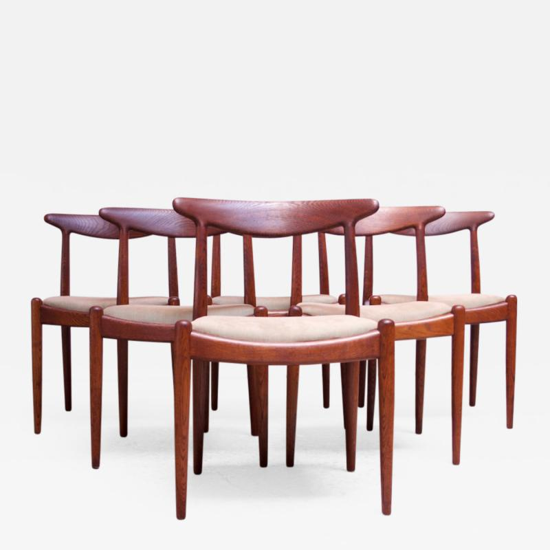 Hans Wegner Set of Six Hans Wegner W2 Dining Chairs for C M Madsen in Oak
